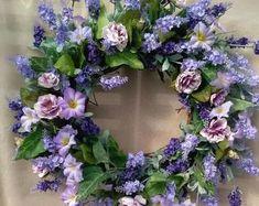 Silk Flower Wreaths, Lavender Wreath, Hydrangea Wreath, Lavender Flowers, Silk Flowers, Floral Wreath, Casket Flowers, Petunias, Summer Door Wreaths