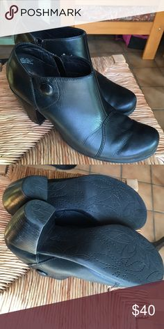 Clarks Black Leather Heeled Ankle Boots PRICE FIRM Good used condition. Scuffing on heel and heel tip is slightly worn, but can be replaced by a shoemaker. Have been cleaned and moisturized. Clarks Shoes Ankle Boots & Booties