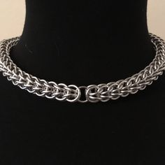 "1/3"" Diameter Wide Lightweight Bright Aluminum Metal Chainmail Full Persian Choker Collar - Steel Silver Fetish Mens Womens Unisex Kink Curb by JohnsChainmailShop from John's Chainmail Shop. Find it now at http://ift.tt/2i3PngL!"