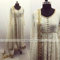 Lucknowi work anarkali in pure georgette with mukaish work dupatta. Can be made in any color and size. chikankari lucknowiwork heritage indianethnic To order/enquiry email at shivani@intricado.com Whatsapp at +918527463626. 28 February 2018 Anarkali Frock, Anarkali Suits, Anarkali Tops, Cotton Anarkali, Lehenga, Indian Gowns, Indian Attire, Pakistani Outfits, Indian Outfits