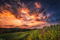 Photo Summer sunset by Cezar Machidon on Summer Sunset, Sunset Sky, Pretty Landscapes, Sun And Clouds, Nature View, Amazing Sunsets, Beautiful Sunrise, Great Photos, Mother Nature