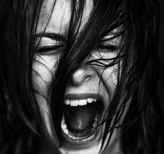 black and white, fear, kid, scream, stress