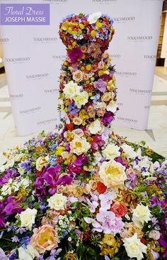 Exquisite floral dress created by Joseph Massie for Touchwood & unveiled by Rosie Fortescue of Made in Chelsea.