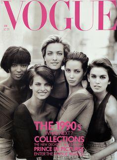 Super for a reason. Naomi, Linda, Christy, Cindy, and Tatjana, Vogue UK, January 1990