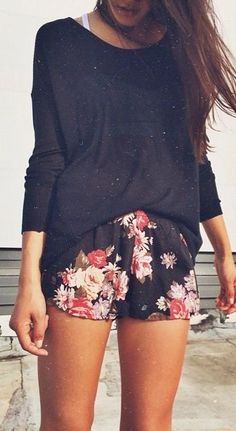 #summer #fashion / longsleeve + floral print