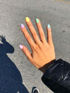 Acrylic nails fun nail designs rainbow pastel nails different colored . Spring Nail Colors, Spring Nail Art, Summer Acrylic Nails, Best Acrylic Nails, Spring Nails, Short Nail Designs, Nail Designs Spring, Cool Nail Designs, Acrylic Nail Designs