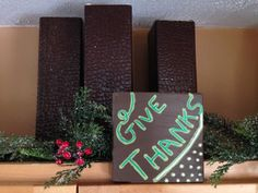 GIVE THANKS - wood art - home decor - Thanksgiving etsy.com.shop/ShareHisBlessings  Thanks for viewing my work! I can customize all my projects to fit your style. Let me know if you are looking for a certain color, size or phrase – I'd be happy to make it just for you! Stay Blessed..