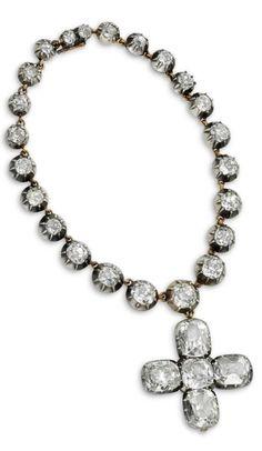An Antique Diamond Cross Charm Bracelet, 19th Century. #antique #bracelet