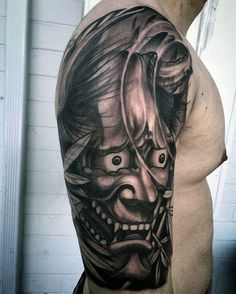 Black And Grey Ink Mens Half Sleeve Japanese Demon Mask Tattoo Ideas
