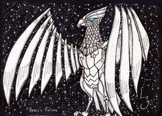 Horus Falcon (Hawk) Feito a lápis, nankin, caneta pincel, e posca e finalizado no photoshop.