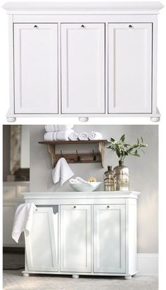 Laundry Hamper 3 Compartment Tilt out Design Recessed Paneling Wood White