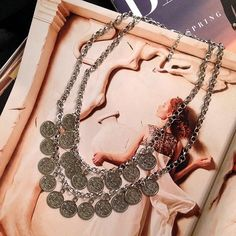 """SALE Vintage Style Double Coin Necklace Beautiful Vintage Style Double Coin Necklace  Length: 21"""" Material: Silver-tone Alloy  Condition: New  No Trades No Holds No PayPal Jewelry Necklaces"""