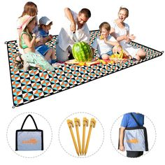 "X-Lounger Picnic Blanket, Water Resistant and Lightweight, Sand-Proof Foldable Backpack, Outdoor Camping Mat, Double Layers Polyester and 210D Moisture Proof Material Come With 4 Loops, 1.4 lbs. Large Size for 6 adults : Open size is 78'' x 57'', fold size is 2''x 16'', for 5-6 adults sit on it or 3-4 adults lying on it. Best choice for have lunch at a picnic with whole family and friends. Foldable & Big Capacity: This picnic blanket could folds into a 20""x 16""compact tote bag , just…"