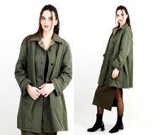 Vintage Hettemarks Coat / Khaki Woen Coat / Military Coat / Flared Jacket Made in Sweden Size L / XL by Ramaci on Etsy