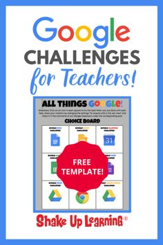 Looking for Google Challenges for teachers? Check out this post and grab the free template! | shakeuplearning.com Google Classroom Code, Google Training, Right To Education, Learning Resources, Teaching Tips, Teacher Resources, Teacher Assistant, Instructional Coaching