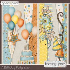 A Birthday Party Borders Birthday Scrapbook Layouts, Scrapbook Borders, Scrapbook Embellishments, Scrapbook Sketches, Scrapbook Page Layouts, Scrapbook Cards, Scrapbooking Ideas, A Birthday Party, Borders For Paper