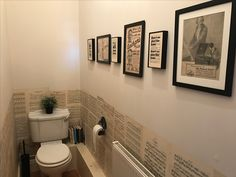 Papered the bottom half of the walls using vintage sheet music and framed adverts from 1935 newspapers