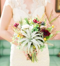 Textural bouquet with a giant air plant