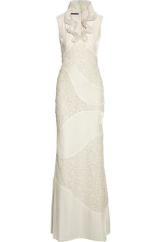Alexander McQueen|Velvet and lace gown|NET-A-PORTER.COM