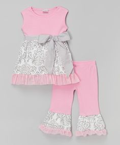 Look at this AnnLoren Pink & Gray Damask Top & Pants - Infant, Toddler & Girls on #zulily today!