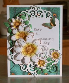 Handmade Card with 3-D Daisies using the Peacock Paisley kit from Heartfelt Creations.