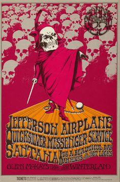 BG # 222 Jefferson Airplane Fillmore postcard BG222 Jefferson Airplane Quicksilver Messenger Service Santana It's A Beautiful Day Dan Hicks & His Hot Licks  2/23/1970 Artist: Randy Tuten Blank Back