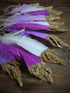 Purple Lavender and White Glitter Dipped Feather Banner Garland Glitter tips Baby Shower Boho Party Decor Wedding Nursery Bohemian decor by JadeandJo on Etsy