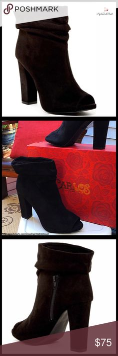 """❗️1-HOUR SALE❗️ CARLOS SANTANA VEGAN SUEDE BOOTS CARLOS SANTANA VEGAN SUEDE BOOTS Heeled Peep Toe Booties  NEW WITH BOX RETAIL PRICE: $110 SIZING- True to size  DETAILS-  * Open peep toe  * Slouchy opening  * Smooth vegan suede construction  * Partial inner side zip closure  * Chunky covered 4"""" high block heels, 11.5"""" opening   * Lightly padded footbed; Grip sole MATERIAL- Vegan suede fabric upper, manmade sole COLOR- Black   - NO TRADES  - BUNDLE DISCOUNTS  - OFFERS CONSIDERED  ITEM#…"""