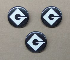 Despicable Me Set of THREE Gru Logo Buttons 1.25