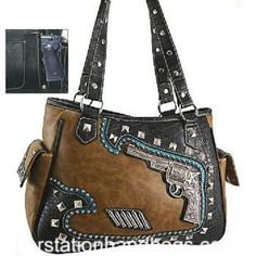 Concealed Carry Purse Pistol Gun Weapon Western BLING Handbag Turquoise & Brown