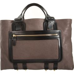 Pierre Hardy-Calfskin Shopper  Calfskin leather shopper tote bag with contrast top handles and black trim zip pocket in neutral