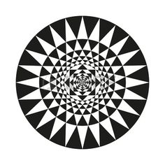 Abstract pattern of circles and triangles. Black and white monochrome..