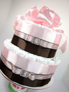 Girl Diaper Cake - Light Pink And Brown Bling Elegant Baby Girl Diaper Cake Shower Centerpiece - 2 Tier by DomesticDivaDesignz on Etsy https://www.etsy.com/listing/191226387/girl-diaper-cake-light-pink-and-brown