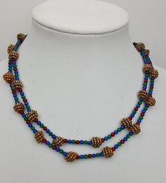 Anne Klein long necklace woven seed beads gold red blue  #AnneKlein #StrandString