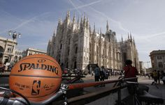 The official game ball at the Duomo Cathedral Church Di Milano in Milan for 2015 #NBAGlobalGames