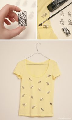 DIY pineapple Tshirt. #stamp