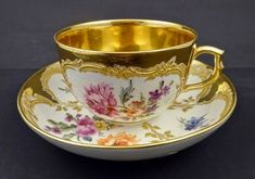 Antique KPM Neuzierat Tea Cup & Saucer