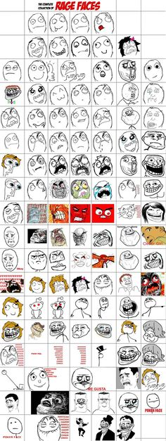 Rage comic faces list. I don't know if any one needs this, but it's oddly satisfying...