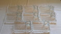 Hazel Atlas Snack Sets 8 Bubble Glass Punch Cups and 8 Matching Trays Imperial Candlewick Mid Century