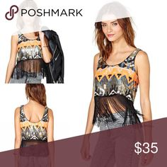 Nasty Gal Poison Arrow Crop Top✨ Nasty Gal Poison Arrow Sequin Crop Top✨ It's a size small and i great for festival season the top has multicolor sequins and long black fringe that moves great when you're dancing under the sun the long black fringe is also great for post pizza cover up Nasty Gal Tops Crop Tops