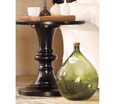 """Man Room - Pottery Barn - RUSTIC PEDESTAL ACCENT TABLE -  $299.00 - 6"""" diameter, 24"""" high"""