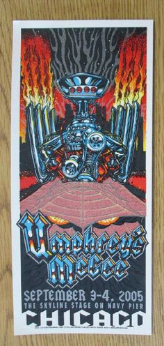 Original silkscreen concert handbill for Umphrey's McGee at The Skyline Stage on Navy Pier in Chicago, IL in 2005. 5 x 11 inches.