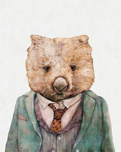WOMBAT Art Print Wombat Illustration Australian by AnimalCrew