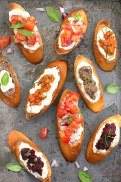 bruschetta with assorted toppings