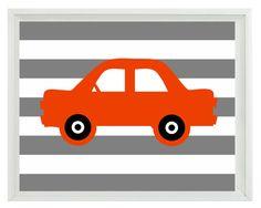 Car Art Print - Transportation Nursery Boy Room - Orange Gray Stripes - Automobile Retro Wall Art Home Decor 8x10 Print. $15.00, via Etsy.