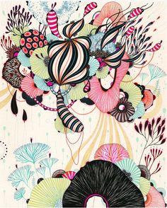 L'artiste Ellena James combine des formes abstraites dans ses illustrations. Ses arrangements colorés de lignes et de formes sont à la fois floraux et exotiques...