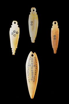 Africa | Bone pendants from the Sidamo peoples of Ethiopia | ca. 20th century