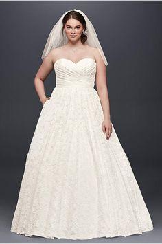Oleg Cassini Plus Size Lace Tulle Wedding Dress - Davids Bridal