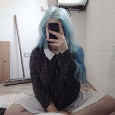Find images and videos about girl, hair and grunge on We Heart It - the app to get lost in what you love. Light Blue Hair, Hair Color Dark, Cool Hair Color, Soft Grunge Hair, Grunge Girl, Coloured Hair, Harajuku, Dye My Hair, Aesthetic Hair