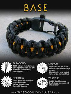 survival bracelet (base plus add on tinder and bands)